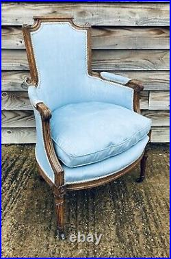 LOVELY ANTIQUE 19th CENTURY MAHOGANY FRENCH UPHOLSTERED ARMCHAIR, C1900