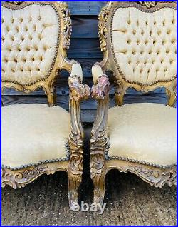 LOVELY ANTIQUE 19th CENTURY PAIR OF FRENCH GILTWOOD UPHOLSTERED ARMCHAIRS C1900