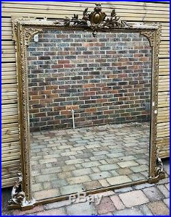 LOVELY LARGE ANTIQUE FRENCH 19th CENTURY GILTWOOD OVERMANTLE MIRROR, C1900