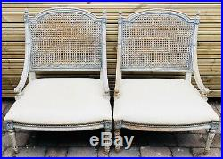 LOVELY PAIR OF FRENCH ANTIQUE 19th CENTURY CANED LEATHER UPHOLSTERED CHAIRS