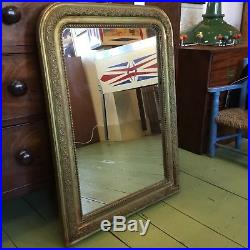 Large Antique French Gilded Gesso Mirror With Moulding And Foxed Glass