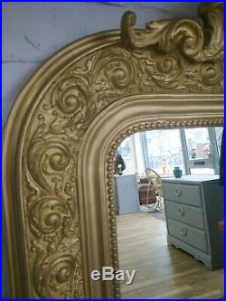 Large Antique French Gold Mirror Louis Phillipe Style Rococo Wall Mirror C 1890