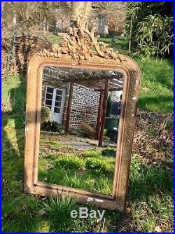 Large Antique French Ornate Gilt Mirror Shabby Chic