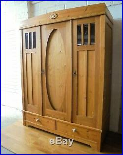 Large Antique French Pine Wardrobe Armoire Knockdown With Drawers, Lock & Key