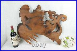 Large Antique French Wood carved dragon gothic head mirror sickle Attr. VIARDOT
