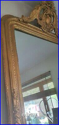Large Antique French aged Distressed Mirror 59 X 32 gilded gesso ornate top