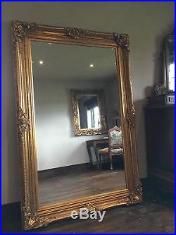 Large Antique Gold Ornate Statement French Leaner Dress Floor Wall Mirror 7FT
