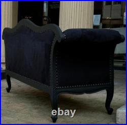 Large Antique Matt Black Velvet French Ornate Sofa Chaise Longue Day Bed Lounge