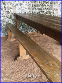 Large Antique Provincial French Farmhouse Oak Dining Table & Benches Vintage