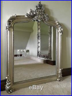 Large Antique Silver French Ornate Over Mantle Swept Scroll Arched Wall Mirror