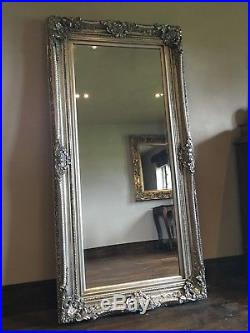 Large Antique Silver Statement Ornate French Floor Dress Leaner Wall Mirror 6ft