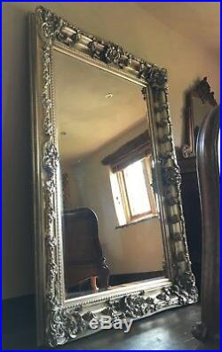 Large Antique Silver Statement Ornate Period French Over Mantle Wall Mirror 5FT