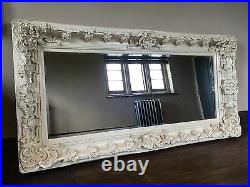 Large Antique White Cream Shabby chic French Leaner Dress Floor Wall Mirror 6ft