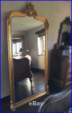 Large Big Wood Antique Gold French Wedding Leaner Dress Dressing Mirror 7ft