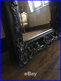 Large Black Ornate Rococo Statement French Leaner Dress Wall Floor Mirror 6ft