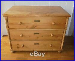 Large Country Rustic Antique French Pine Chest Of Drawers
