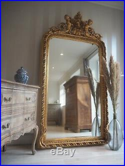 Large Freestanding Floor Mirror Gold Arched Vintage French Mirror