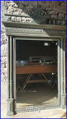 Large French Antique Duck Egg Blue Mirror