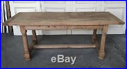 Large French Bleached Oak Farmhouse Kitchen Dining Table Refectory Antique C1850