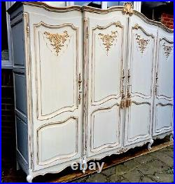 Large French Vintage Louis Style Four Door Wardrobe painted Annie Sloan Old Whit