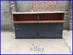 Large Haberdashery Shop Cabinet with Drop Down Doors French Grey with Pine Top