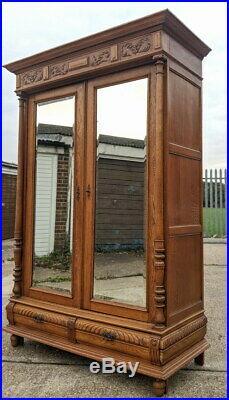 Large Impressive Antique oak French Armoire Wardrobe