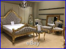 Large Louis Grand Gilt Gold Leaf & Champagne French Ornate Rococo Super King Bed