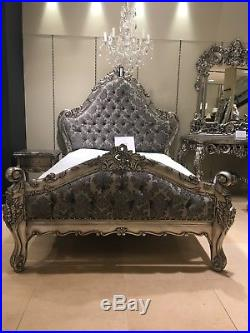 Large Mahogany Boudior Antique Silver Leaf Grey Damask French Ornate DOUBLE Bed