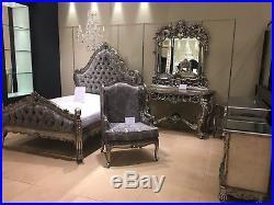 Large Mahogany Ornate Antique Silver Leaf Grey Damask French Super king Bed