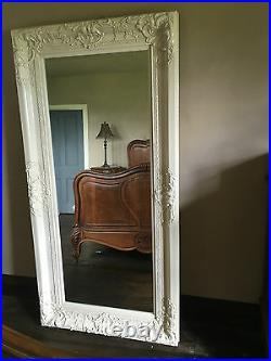 Large Shabby Chic Antique White Ivory Cream French Over Mantle Wall Mirror 4ft