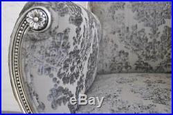 Large Silver Leaf Grey French Ornate Statement Symmetrical Throne Arm Chair