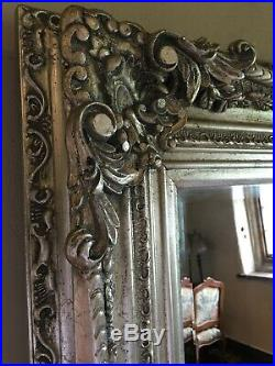 Large Statement Antique Silver French Floor Dress Chic Leaner Wall Mirror 6ft