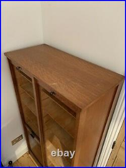 Large Vintage French Wooden Double Tambour Filing Cabinet
