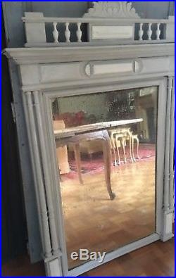 Large vintage French overmantel painted mirror with some foxing
