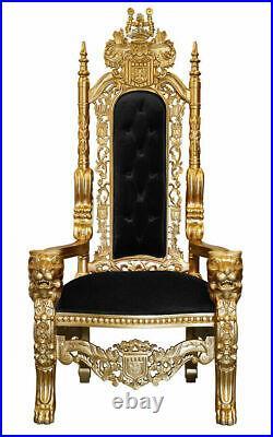 Lion King Throne Chair Gold Leaf Frame with Black Velvet Upholstery