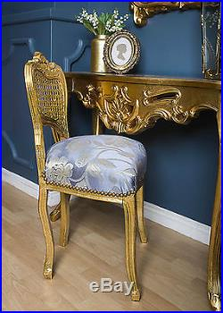 Louis French Chair Gold Shabby Blue Bedroom Dressing Hall Seat Antique Stool
