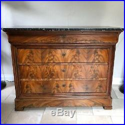 Louis Philipe 19th Century French Antique Mahogany Commode/ Chest of Drawers