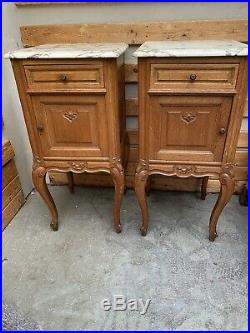 Louis VX French Marble Top Bedside Cabinets Matching Pair