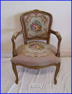 Louis XV Style French Carved Oak And Needlepoint Armchair (117138)