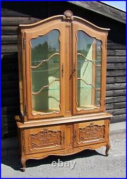 Louis XV Style French Carved Oak Vitrine Glazed Display Cabinet (condc33)