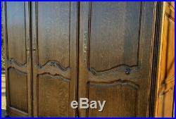 Louis XV Style Vintage French Carved 3 door Armoire Wardrobe