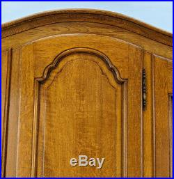 Louis XV Style Vintage French Carved 3 door oak Armoire Wardrobe