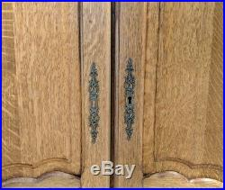 Louis XV Style Vintage French Carved 4 door oak Armoire Wardrobe