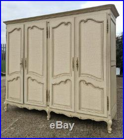 Louis XV Style Vintage French Carved 4 door shabby chic Armoire Wardrobe
