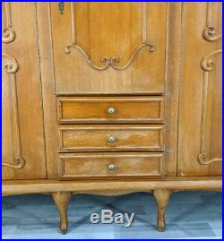 Louis XV Style Vintage French Carved 5 door Armoire Wardrobe