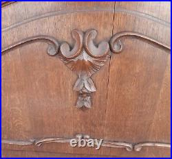 Louis XV Style Vintage French Carved Dark Oak 4' Small Double Bed Frame (010034)