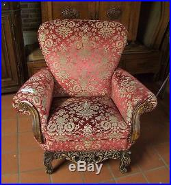 Louis XV Style Vintage French Carved Oak & Velour Armchair (030115)
