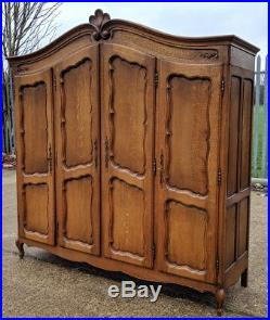 Louis XV Style Vintage French Carved oak 4 door Armoire Wardrobe