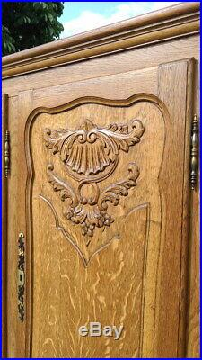 Louis XV Style Vintage French Carved oak 5 door Armoire Wardrobe