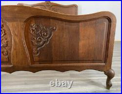 Louis XV Style Vintage French Oak Double Bed